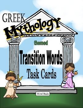 Transition Word Task Cards - 54 Greek Mythology Themed Cards