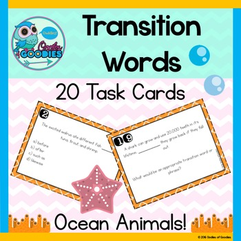 Transition Word Task Cards - Ocean Animals