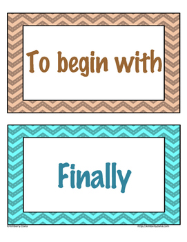 Transitional Words and Phrases Word Wall Cards