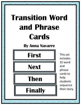 Transition Word and Phrase Cards