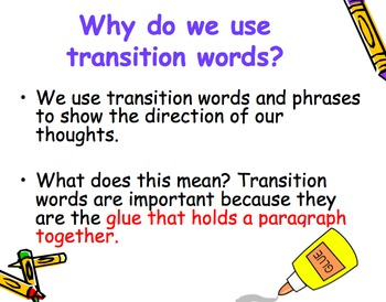 Transition Words  and Phrases Powerpoint