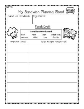 Transition Words Anchor Chart, Interactive Notebook Pages, and Writing Activity
