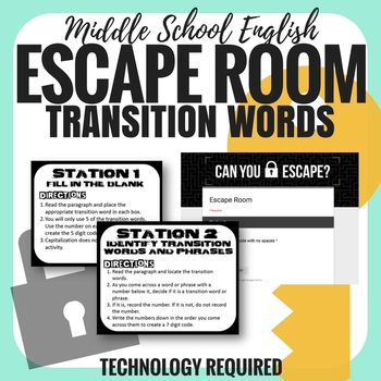 Transition Words - Escape Room - Middle School English
