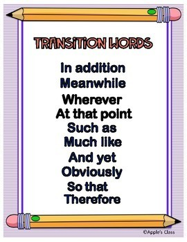 Transition Words For Writing Anchor Charts