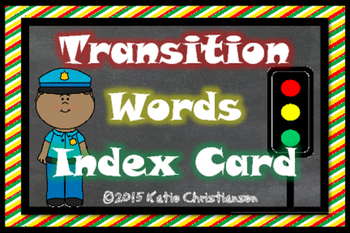 Transition Words Index Card