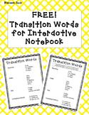 Transition Words Interactive Notebook FREEBIE