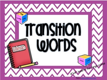 """Transition Words """"Learning Cube Inserts"""""""