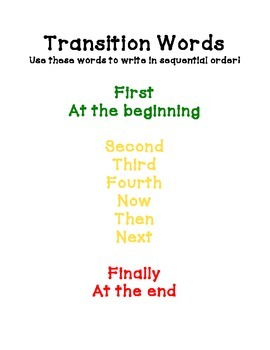 Transition Words Mini Poster for Writing