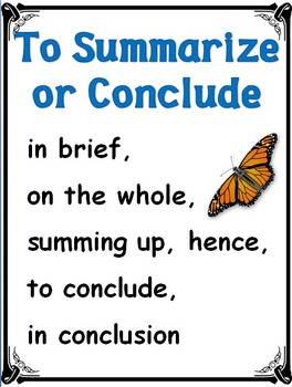 Transition Words POSTERS for Wall Display (45 pages) Butterfly Themed