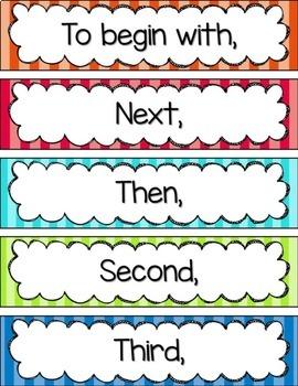 Transition Words Pocket Chart Display