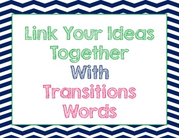 Transition Words Poster {Chevron}
