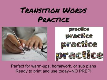 Transition Words Practice: Updated!