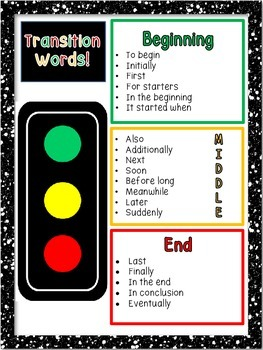 Transition Words Stop Light (Beg., Middle & End Words)