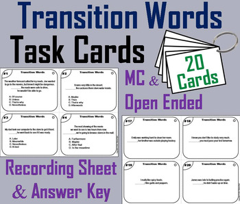 Transition Words Task Cards 4th 5th 6th Grade