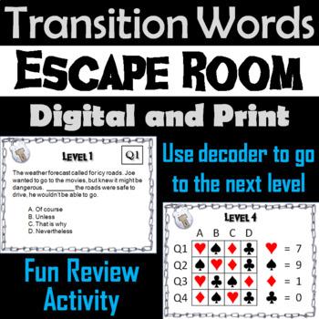 Transition Words Escape Room - ELA (Vocabulary Game)