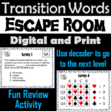 Transition Words Activity Escape Room Literacy (Academic Vocabulary Game)