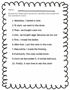 Transition Words Worksheets | Teachers Pay Teachers