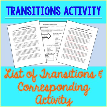 Transition Words and Phrases Activity