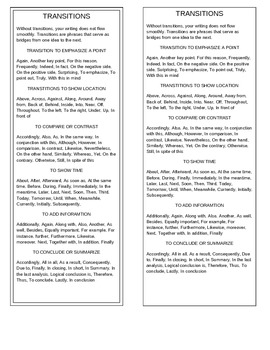 Transition Words and Phrases Bookmark