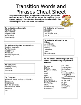 Transition Words and Phrases Cheat Sheet