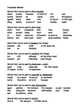 Transition Words and Phrases - Lists and Writing Activities