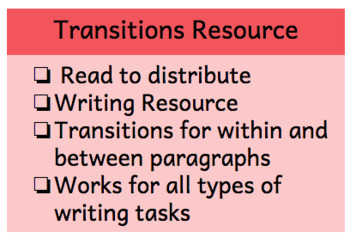 Transition Words and Phrases Resource