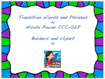 Transition Words and Phrases for Upper Elementary Writing