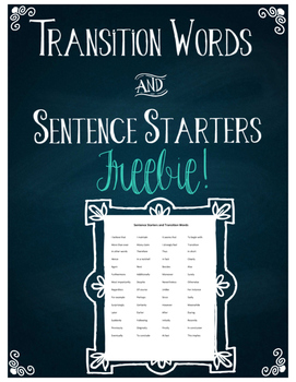 Transition Words and Sentence Starters Freebie!