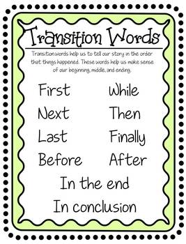 transition words for elementary by mrs fun teachers pay teachers. Black Bedroom Furniture Sets. Home Design Ideas