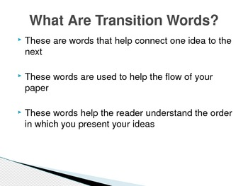 Transition and Descriptive Words (Powerpoint presentation for class)