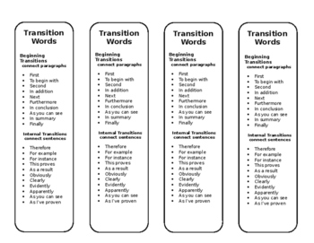 Transition word bookmark