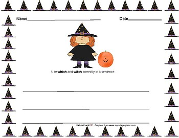 Transition words/ Homonyms Halloween Writing