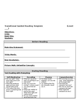Transitional Guided Reading Lesson Plan Template
