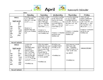 Transitional Kindergarten April #1 Homework Calendar and Reading Log