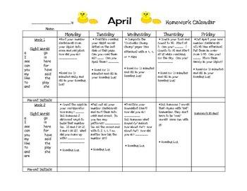 Transitional Kindergarten April #2 Homework Calendar and Reading Log