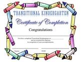 Transitional Kindergarten Certificate of Completion