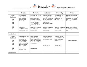 Transitional Kindergarten December #1 Homework Calendar and Reading Log
