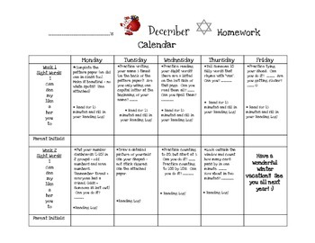 Transitional Kindergarten December #2 Homework Calendar and Reading Log