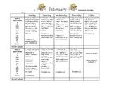 Transitional Kindergarten February #1 Homework Calendar and Reading Log