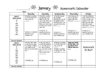 Transitional Kindergarten January #1 Homework Calendar and Reading Log