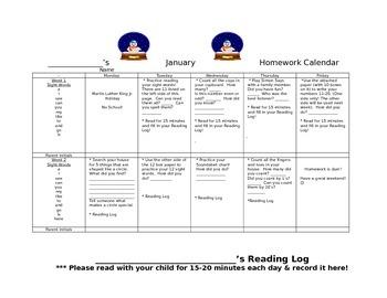 Transitional Kindergarten January #2 Homework Calendar and Reading Log