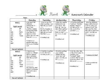 Transitional Kindergarten March #1 Homework Calendar and Reading Log