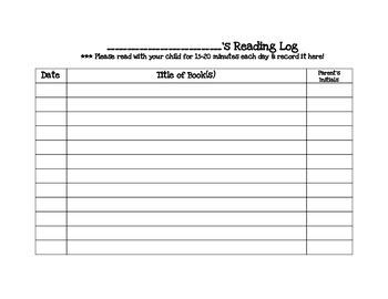 Transitional Kindergarten March #1 Homework Calendar and Reading Log