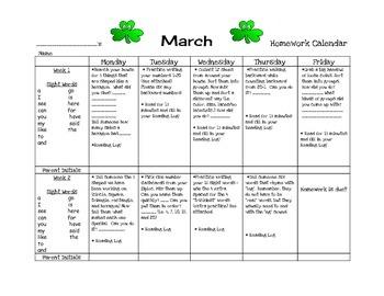Transitional Kindergarten March #2 Homework Calendar and R