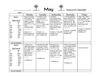 Transitional Kindergarten May #1 Homework Calendar and Reading Log