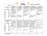 Transitional Kindergarten May #2 Homework Calendar and Reading Log