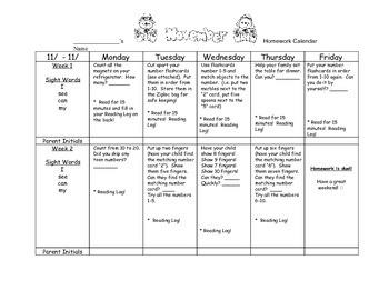 Transitional Kindergarten November #1 Homework Calendar & Reading Log