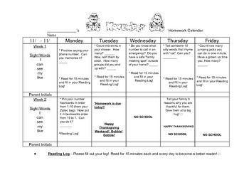 Transitional Kindergarten November #2 Homework Calendar and Reading Log