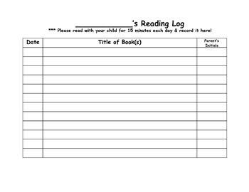 Transitional Kindergarten October #2 Homework Calendar & Reading Log