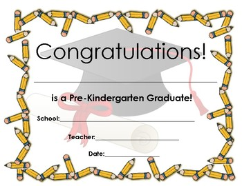 pre k tk and kindergarten graduation certificate by michelle liwanag